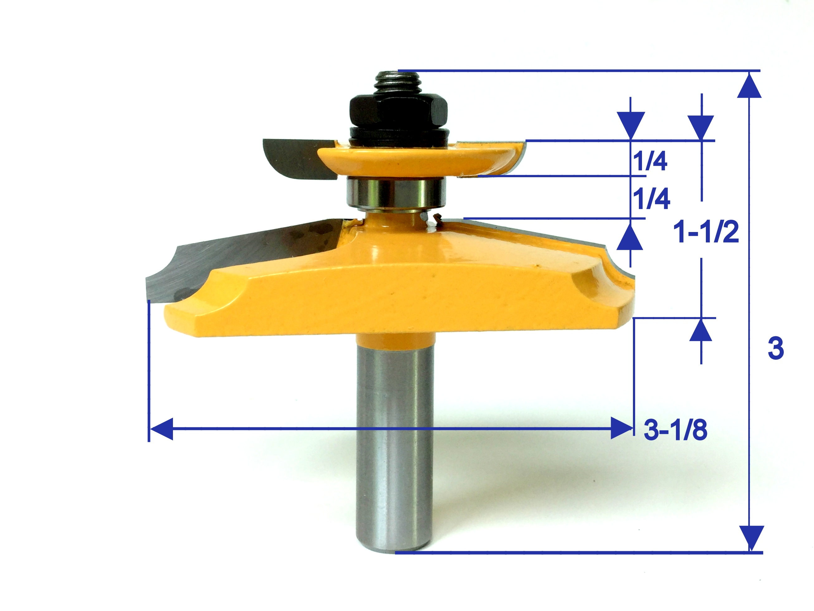 """1pc  1//2/"""" SH 12° Straight Raised Panel with Back Cutter Router Bit S"""