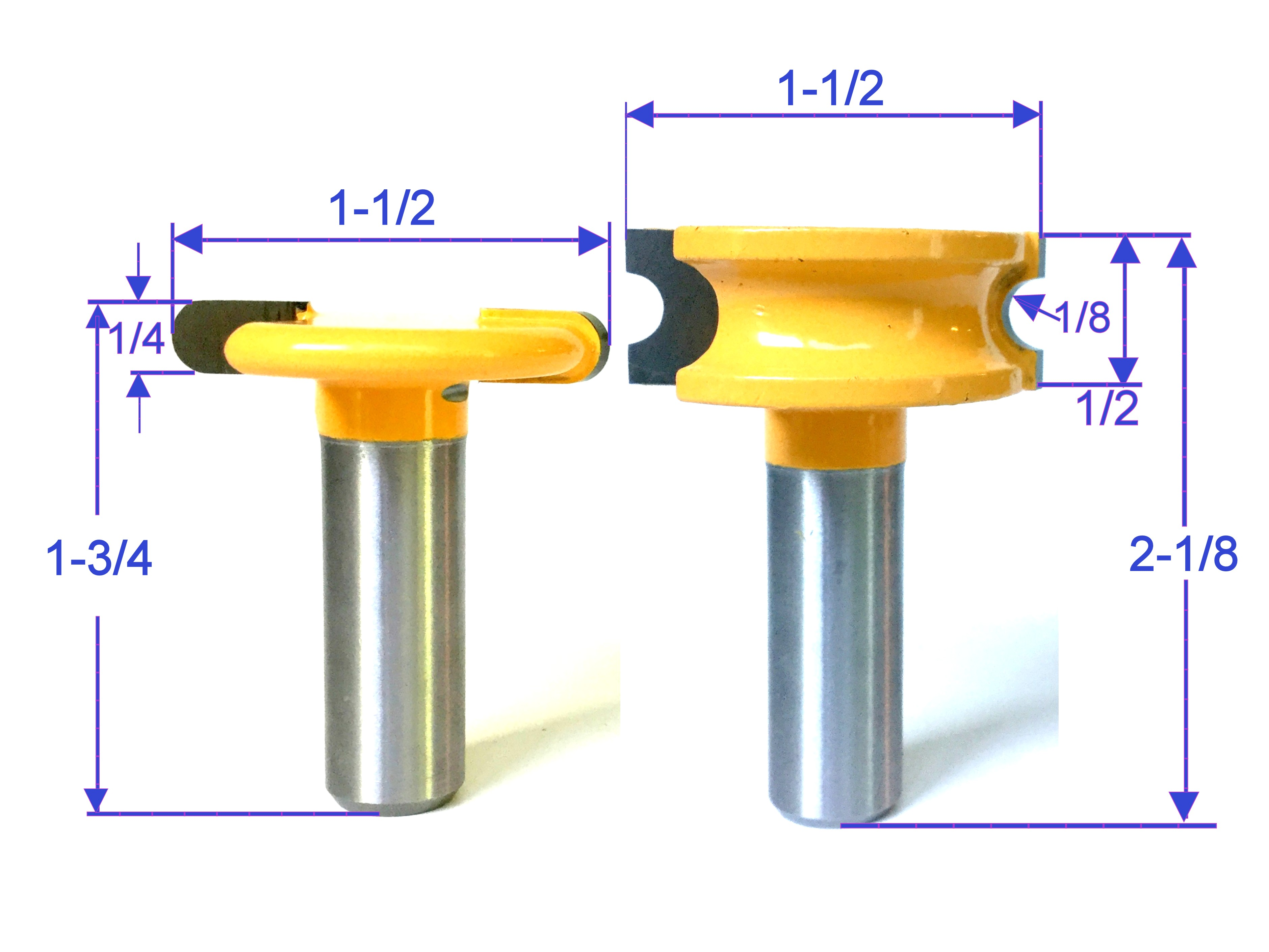 """2 pc 1//2/"""" SH 3//8/"""" Diameter Flute and Bead Match Joint Router Bit Set S"""